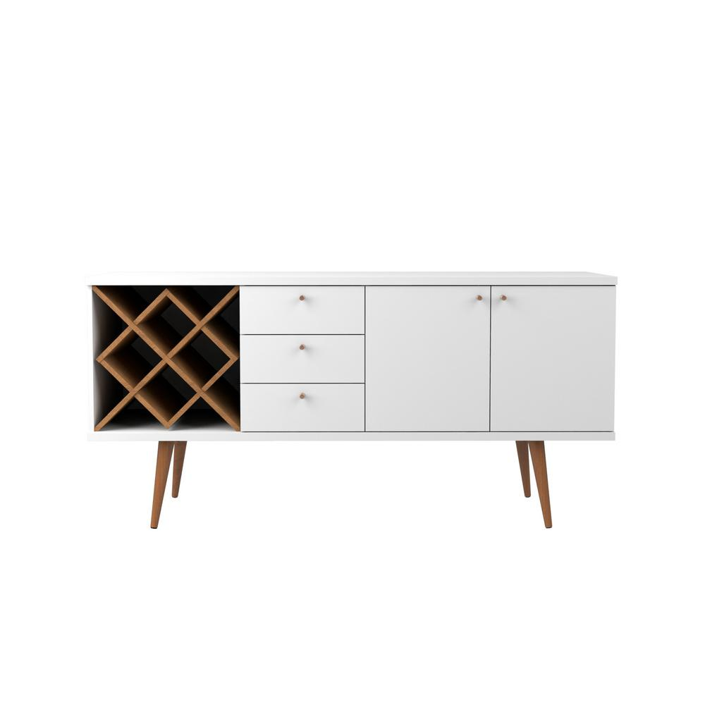 Buffet Sideboard With Wine Rack Manhattan Comfort Utopia 4 Bottle White Gloss And Maple Cream Wine