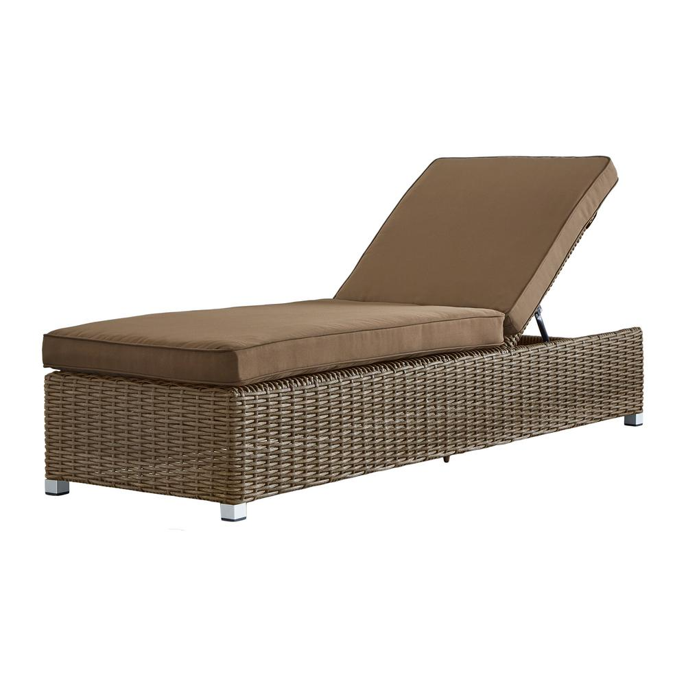 Chaise Style Homesullivan Camari Mocha Wicker Adjustable Outdoor Chaise Lounge Chair With Brown Cushion