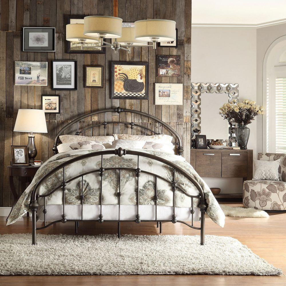 Metal Bed Headboards Homesullivan Miranda Bronzed Black Queen Bed Frame