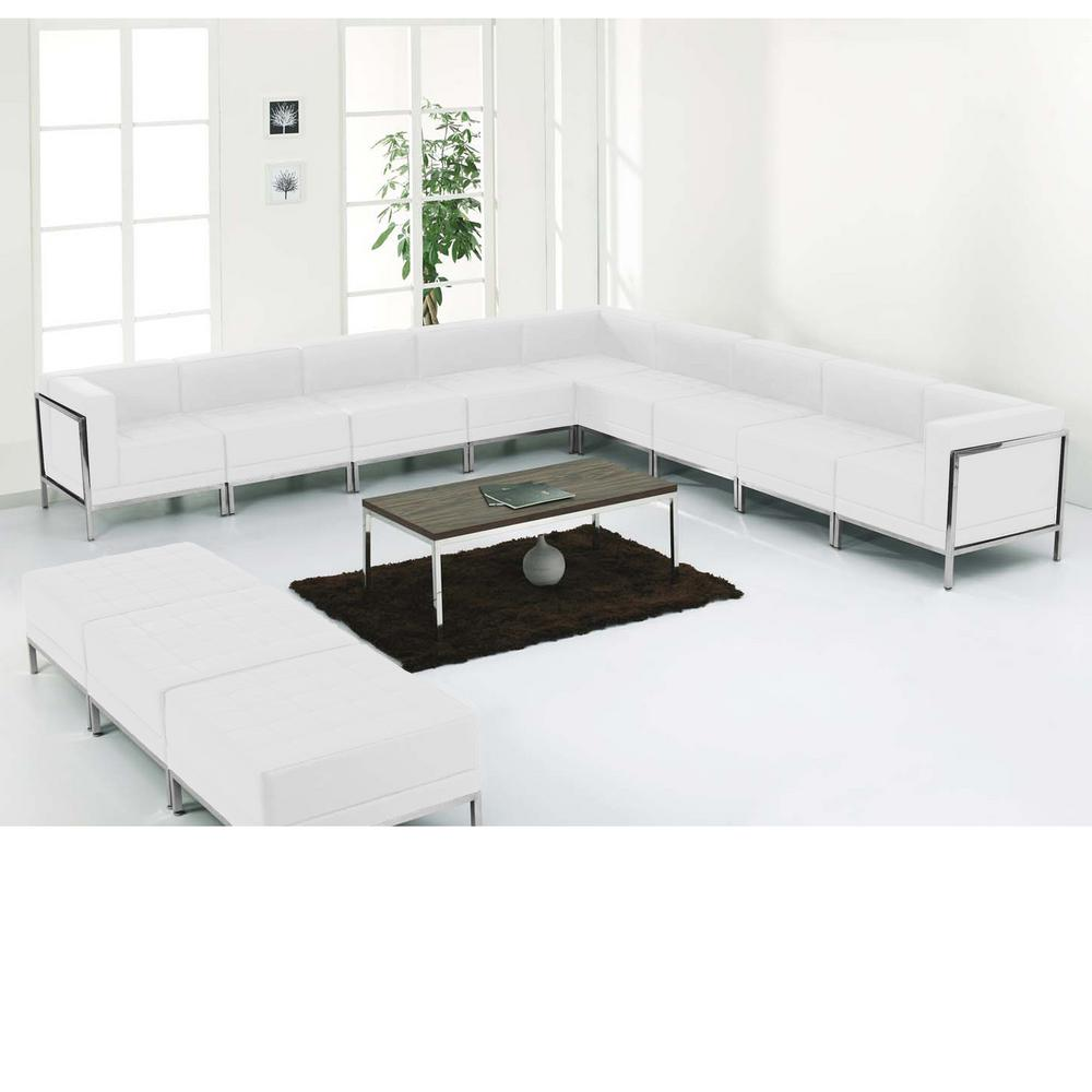 White Leather Couch Hercules Imagination Series White Leather Sectional Ottoman Set 12 Pieces