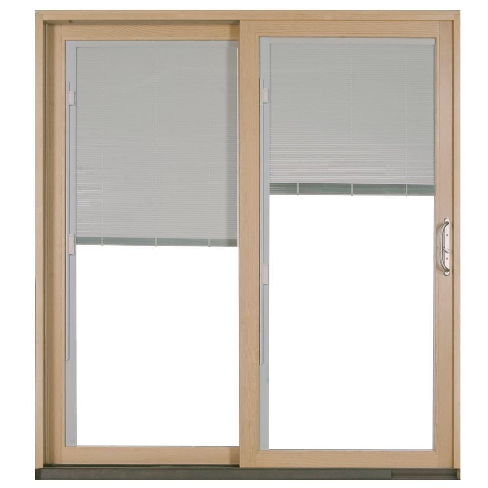 Wooden Door Blinds Jeld Wen 72 In X 80 In W 2500 White Clad Wood Left Hand Full Lite Sliding Patio Door W Unfinished Interior Blinds