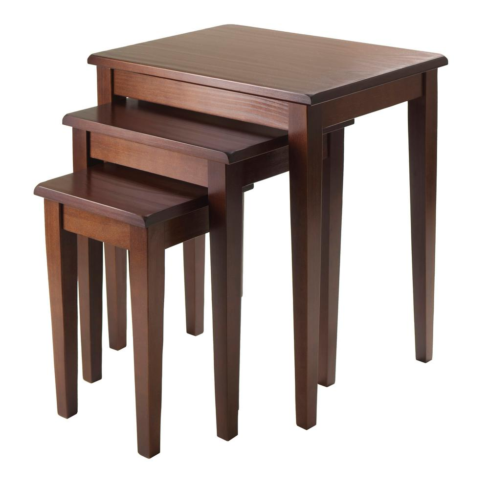 Winsome Regalia 3 Piece Nesting Table In Walnut Finish - Nesting End Tables