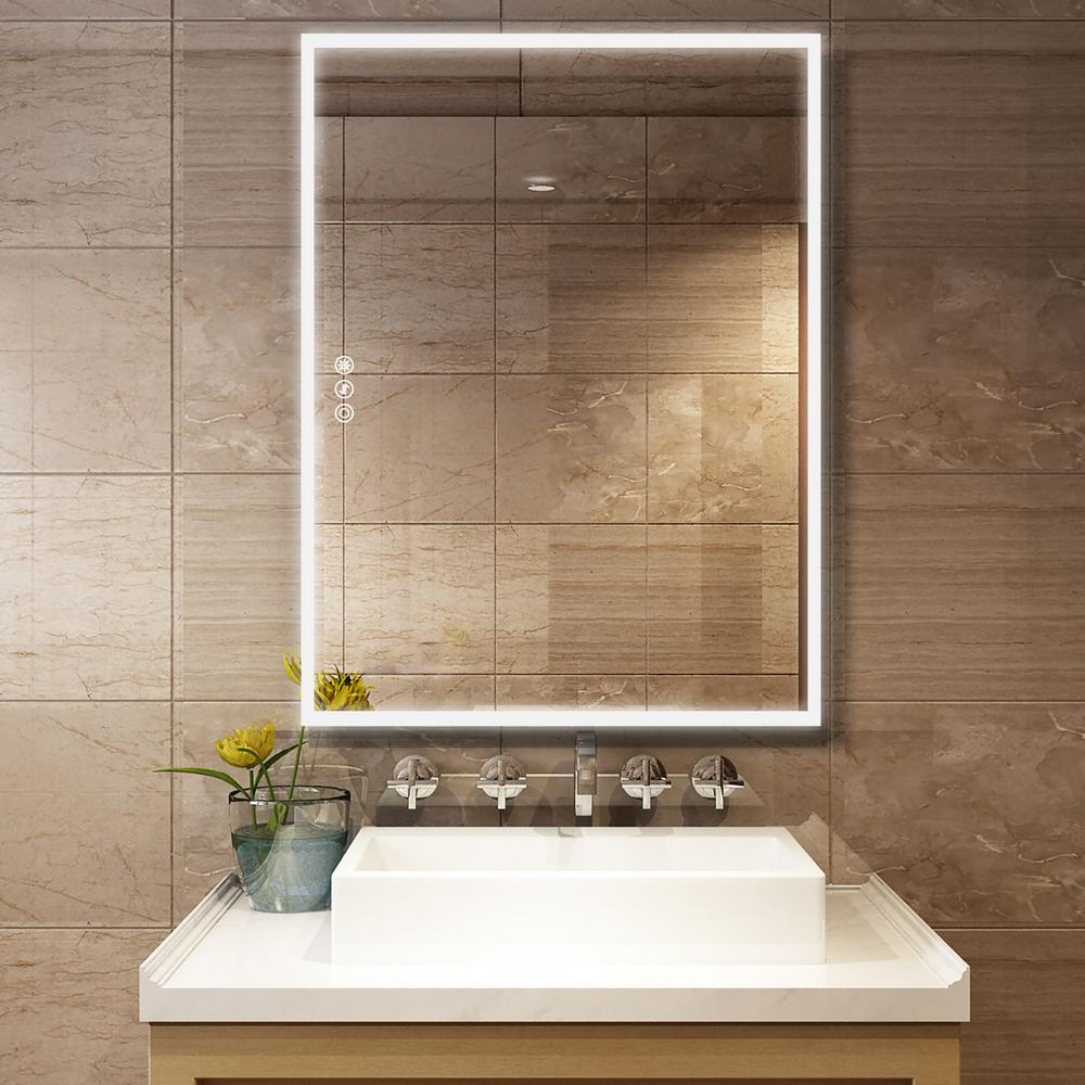 Boyel Living 36 In W X 48 In H Frameless Rectangular Led Light Bathroom Vanity Mirror In Clear Kfm44836sf2 The Home Depot