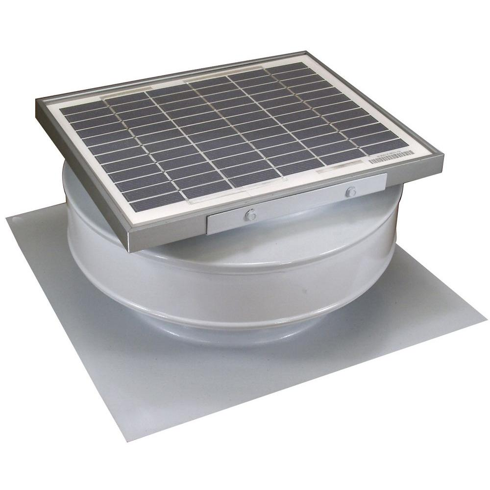 Exhaust Fan Roof Vent Active Ventilation 365 Cfm White Powder Coated 5 Watt Solar Powered Roof Mounted Exhaust Attic Fan