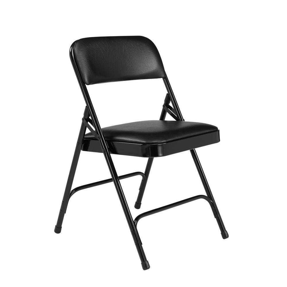 Collapsible Chair National Public Seating Black Vinyl Padded Seat Stackable Folding Chair Set Of 4
