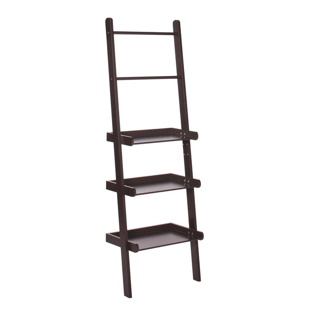 20' Ladder Home Depot Riverridge Home 12 In L X 59 1 4 In H X 20 In W Freestanding Mdf 3 Tier Ladder Shelf In Espresso