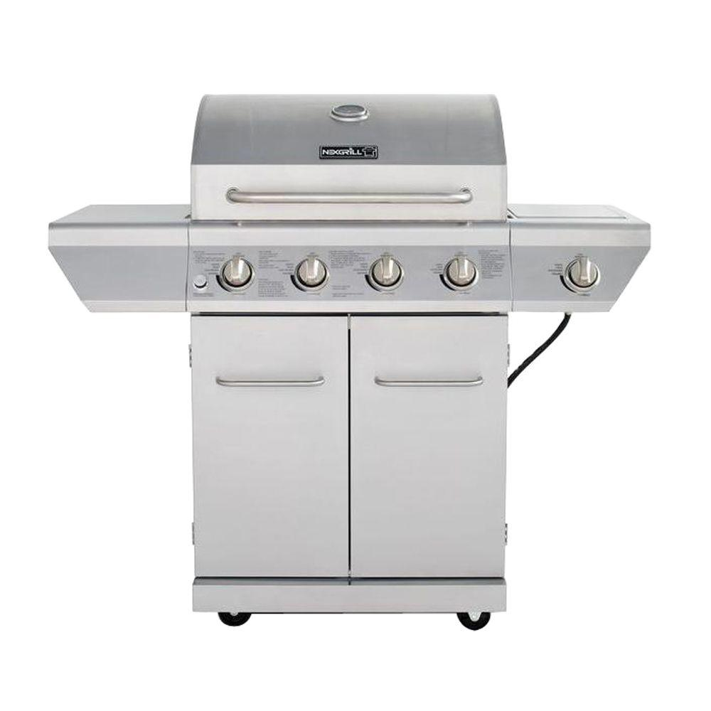 Gasgrill Seattle 4 Burner Propane Gas Grill In Stainless Steel With Side Burner And Stainless Steel Doors