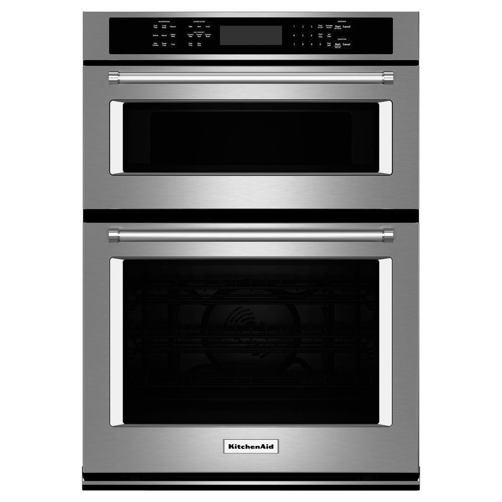 30 Wall Ovens Kitchenaid 30 In Electric Even Heat True Convection Wall Oven With Built In Microwave In Stainless Steel