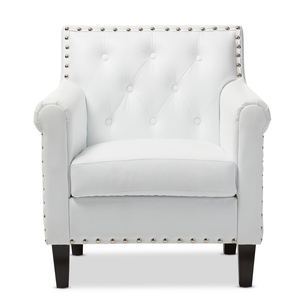 Arm Chairs Baxton Studio Thalassa White Faux Leather Upholstered Arm Chair