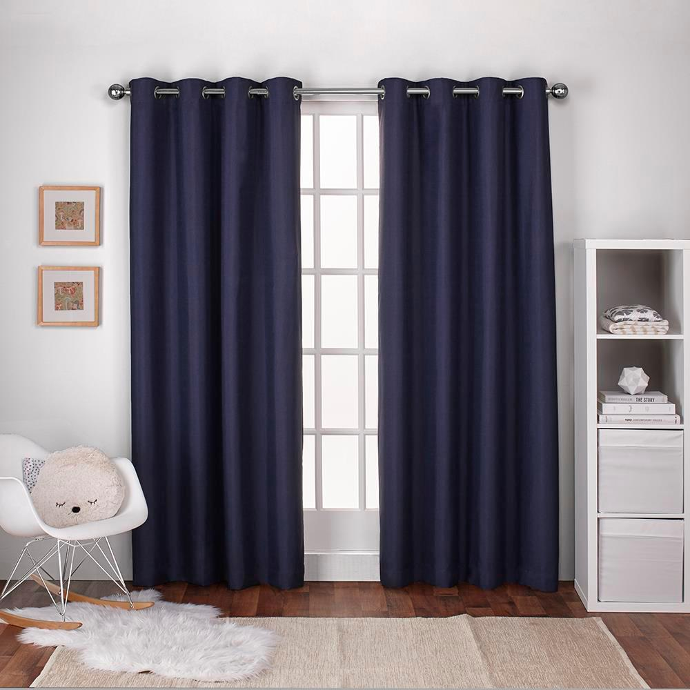 Curtains For A Blue Room Textured Linen Navy Blue Thermal Grommet Top Window Curtain