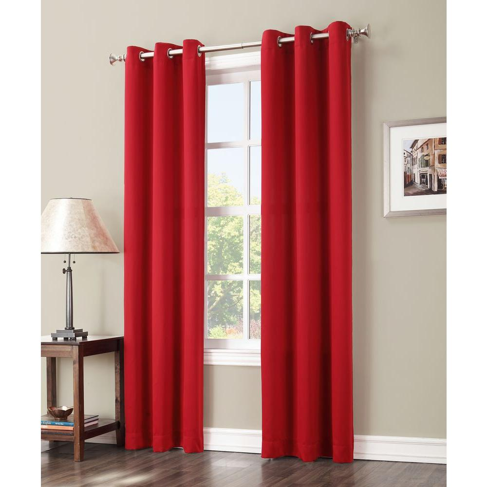 Dark Red Blackout Curtains Sun Zero Blackout Gavin 95 In L Blackout Curtain Panel In Red