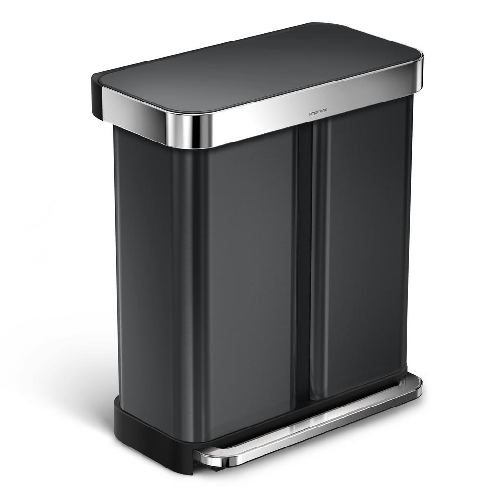Stainless Steel Recycling Bins Simplehuman 58 L Black Stainless Steel Dual Compartment Rectangular Recycling Step On Trash Can