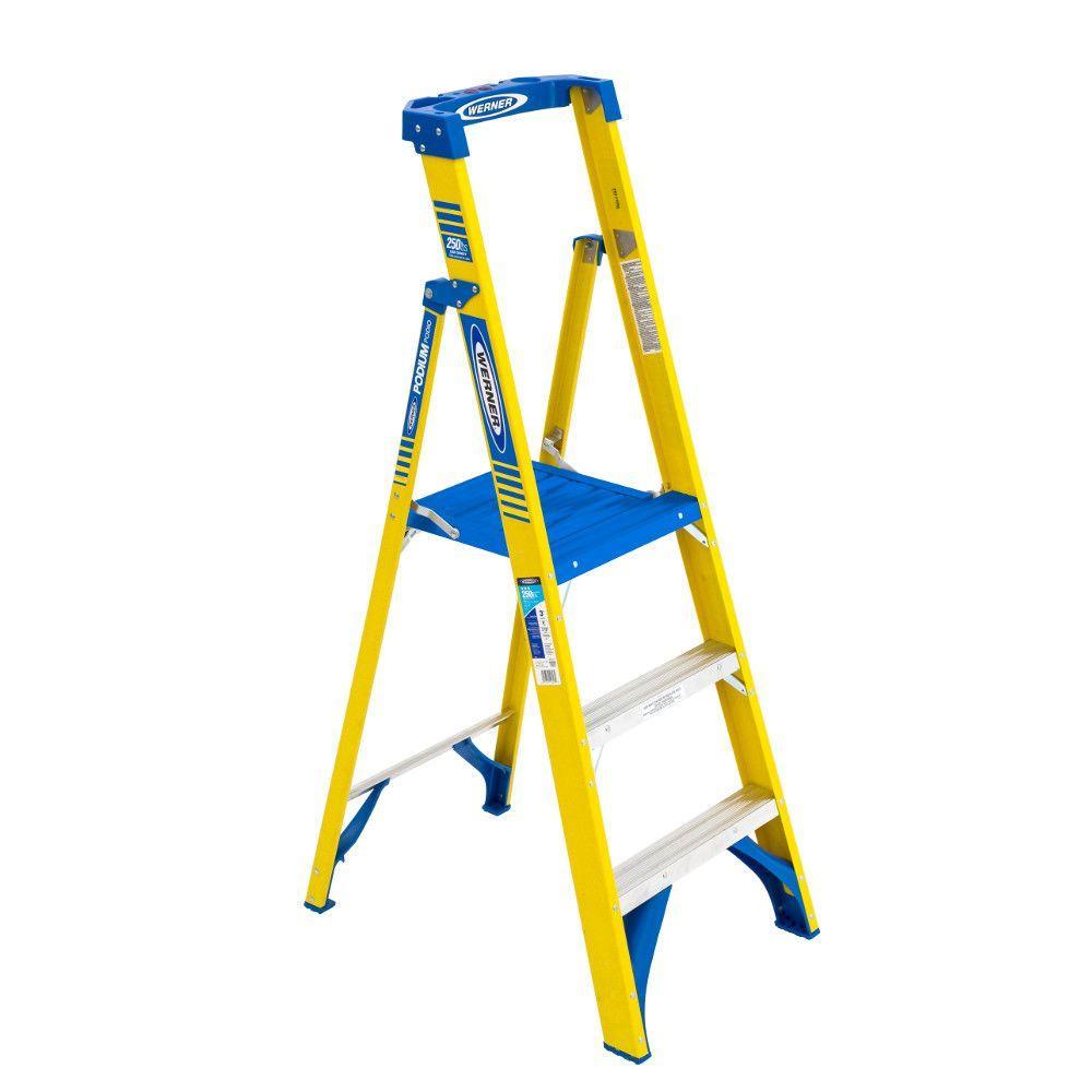 Werner 9 Ft Reach Fiberglass Podium Step Ladder With 250