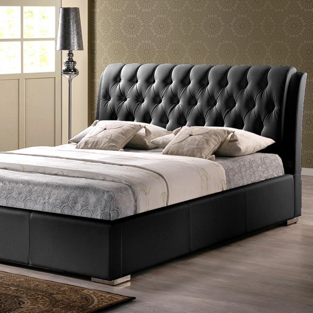 Leather Bed Frame Bianca Transitional Black Faux Leather Upholstered Queen Size Bed