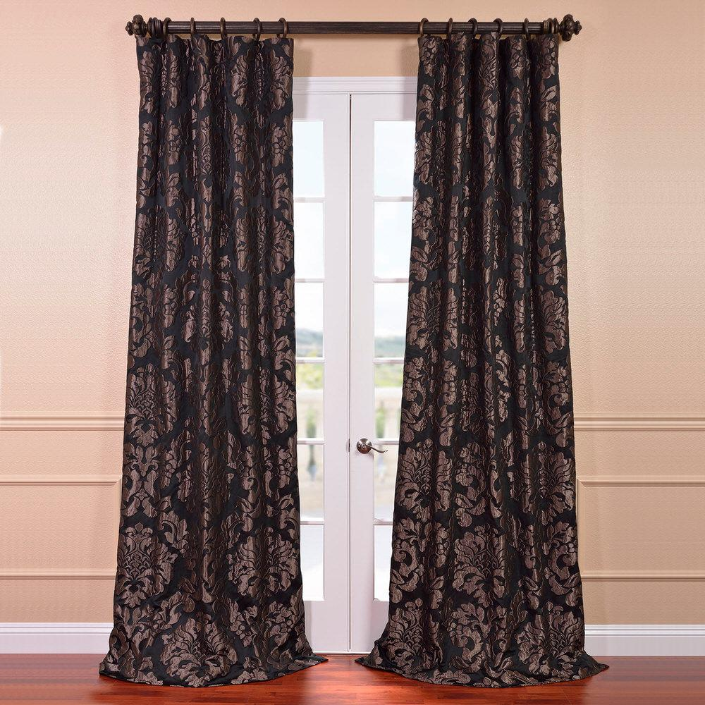 Jacquard Curtains Exclusive Fabrics Furnishings Astoria Black And Pewter Faux Silk Jacquard Curtain Panel 50 In W X 84 In L