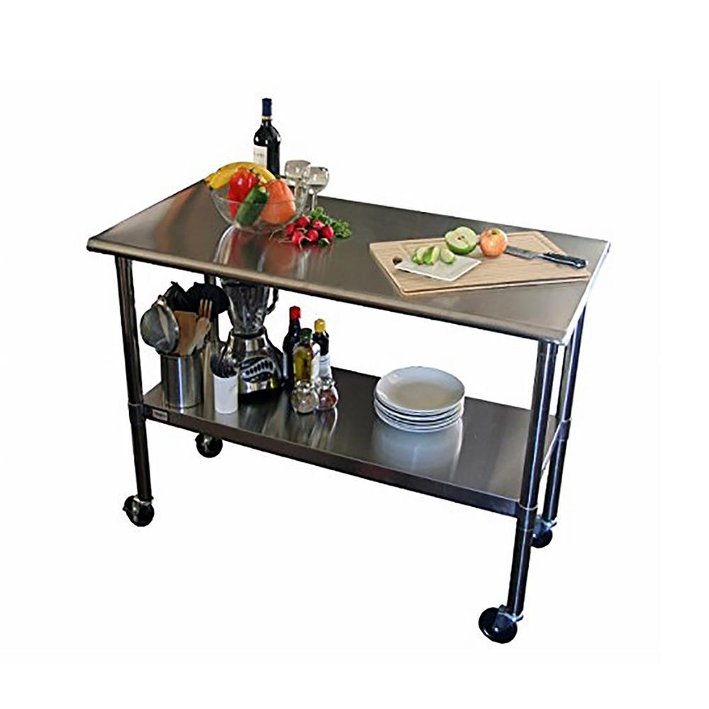 Table On Wheels Ecostorage 48 In Nsf Stainless Steel Table With Wheels Tls 0201c