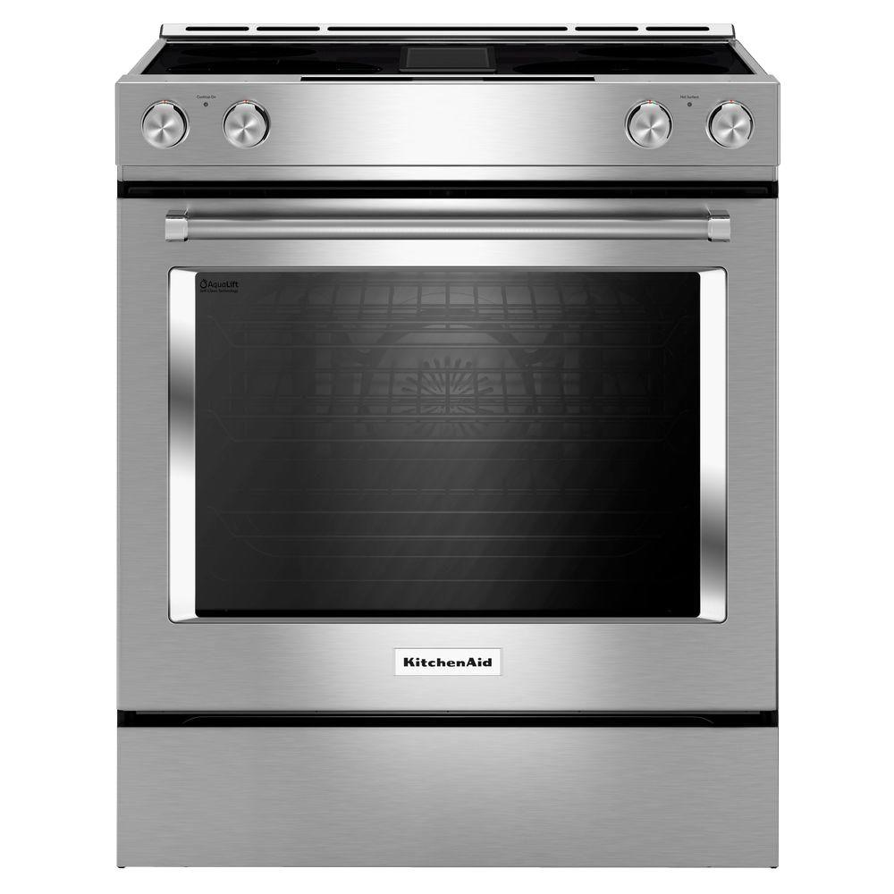 Electric Ovens For Sale Kitchenaid 6 4 Cu Ft Downdraft Slide In Electric Range With Self Cleaning Convection Oven In Stainless Steel