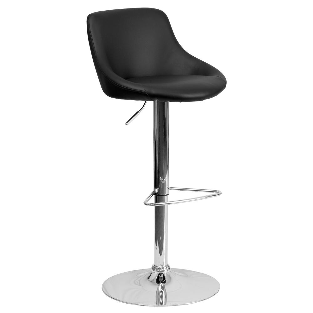 Bar Stool Height Flash Furniture 32 In Adjustable Height Black Cushioned Bar Stool