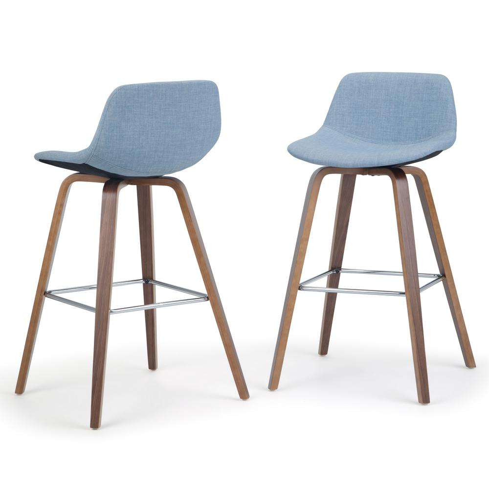 Fabric Counter Height Bar Stools Simpli Home Randolph 36 6 In Denim Grey Linen Look Fabric Mid