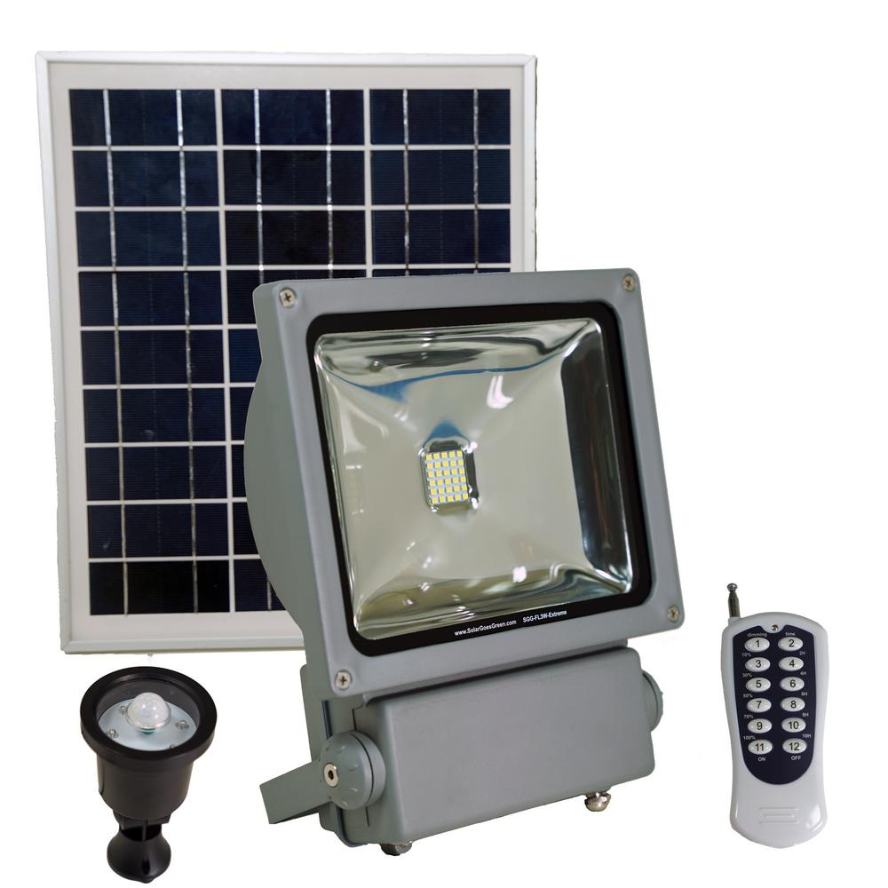 Led Solar Solar Goes Green 100 Watt Super Bright 30 Motion Activated Grey Outdoor Integrated Led Solar Power Flood Security Flood Light Remote
