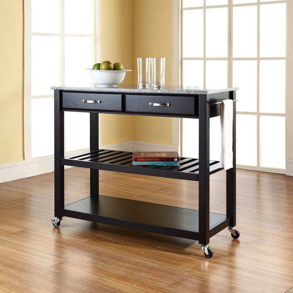 Black Island Kitchen Crosley Black Kitchen Cart With Granite Top Kf30053bk The Home Depot