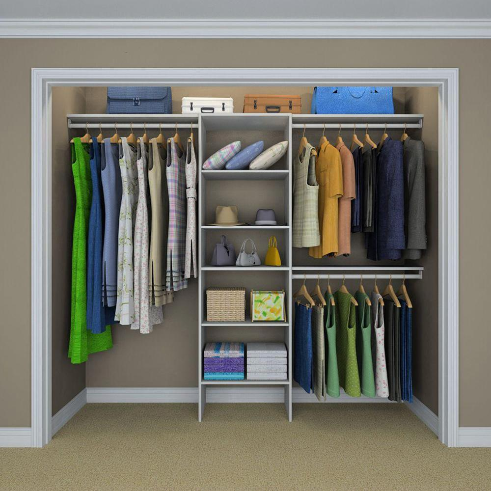Closet Organization Closetmaid Selectives 83 In H X 120 In W X 14 5 In D Basic Closet System In White