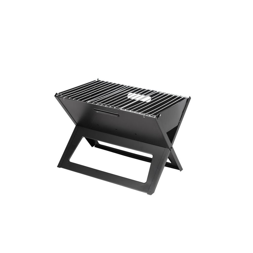 Coal Bbq Fire Sense Hotspot Notebook Portable Charcoal Grill In Black