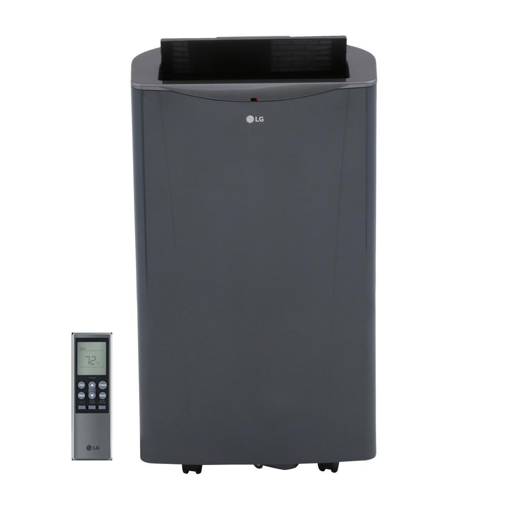 Portable Ac Home Depot Lg Electronics 14 000 Btu Portable Air Conditioner And Dehumidifier Function With Remote In Graphite Gray