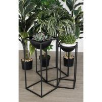 Matte Black Iron Rectangular-Framed Bowl Plant Stands (Set ...