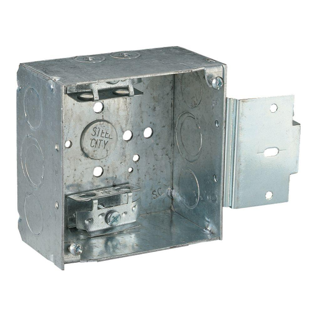 Square Box Steel City 1 Gang 4 In 30 3 Cu In New Work Pre Galvanized Metal Square Electrical Box Case Of 25