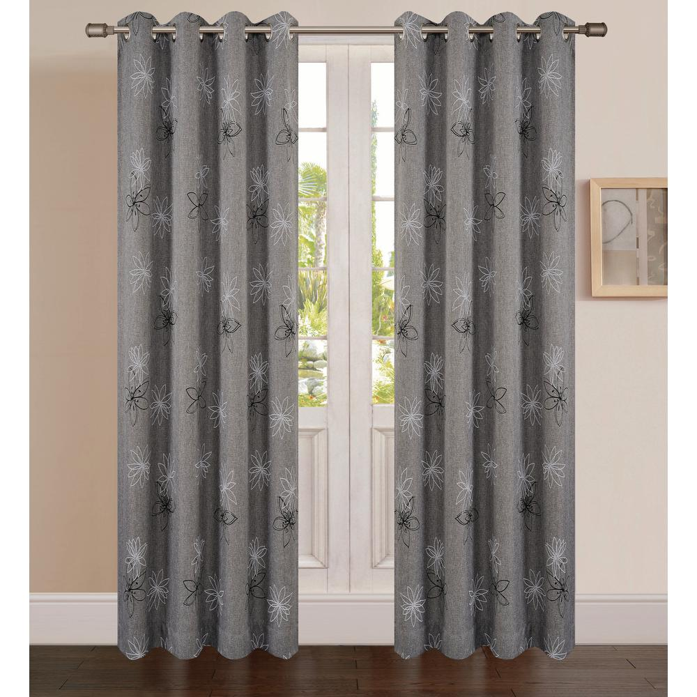102 Inch Curtains Lyndale Decor Crawford Graphite Floral Print Polyester Curtain 102 In L X 54 In W