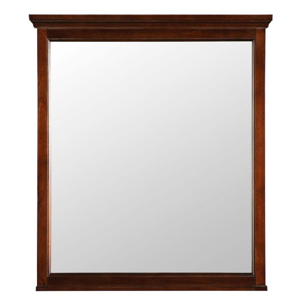 Bathroom Mirror Brushed Nickel Home Decorators Collection Creedmoor 60 In W X 31 In H Single Framed Wall Mirror In Walnut