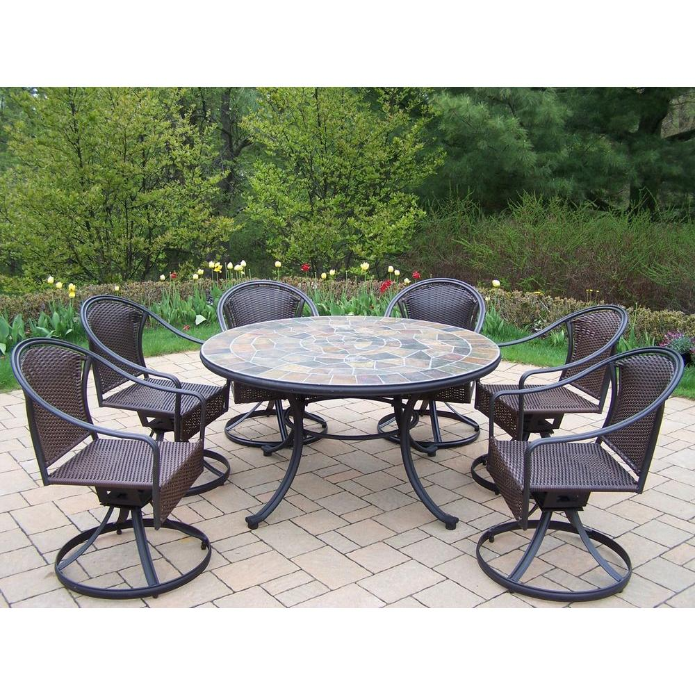 Round Table Patio Furniture Sets Oakland Living Tuscany Stone Art 54 In 7 Piece Patio Wicker Swivel Chair Dining Set