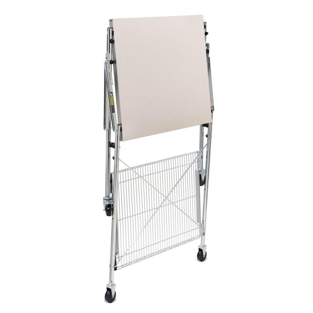 Table On Wheels Honey Can Do 30 In Stainless Steel Portable Folding Utility Table