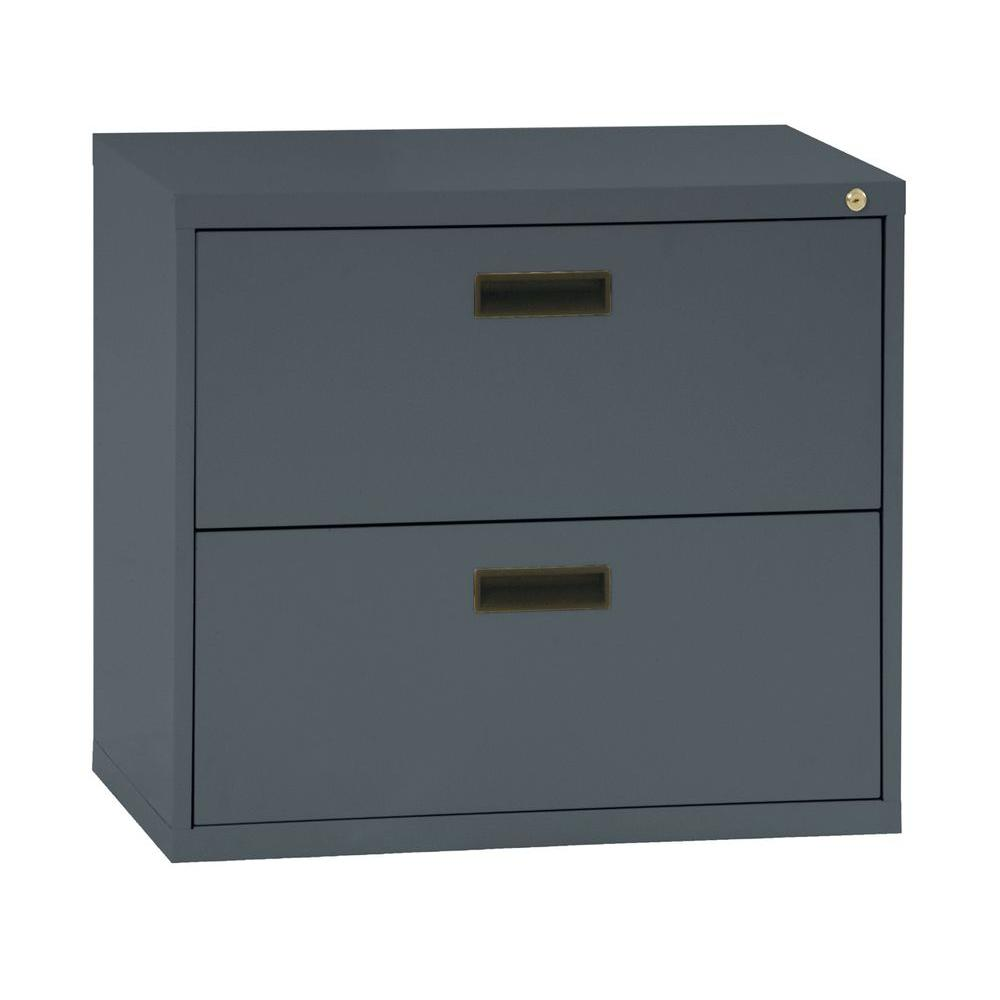 Horizontal File Cabinet Sandusky 400 Series 26 6 In H X 30 In W X 18 In D 2 Drawer Charcoal Lateral File Cabinet