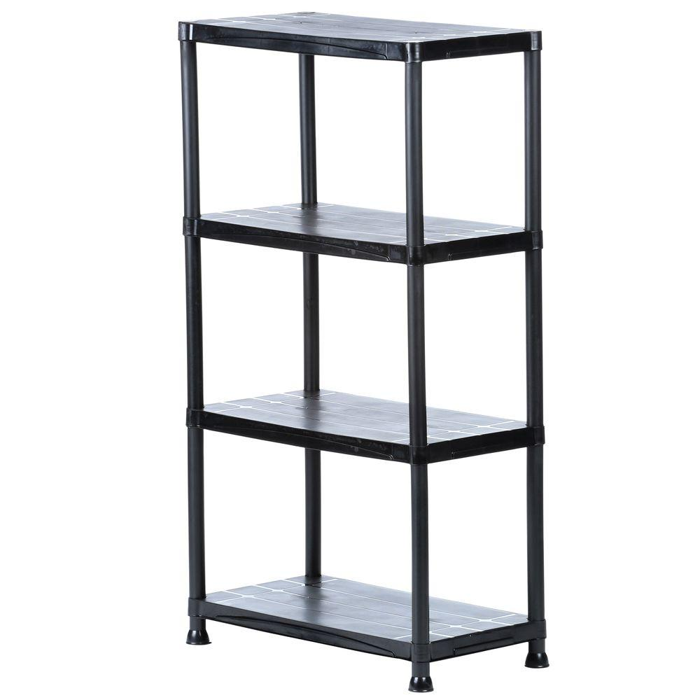 Storage Racks Hdx 4 Shelf 15 In D X 28 In W X 52 In H Black Plastic Storage Shelving Unit