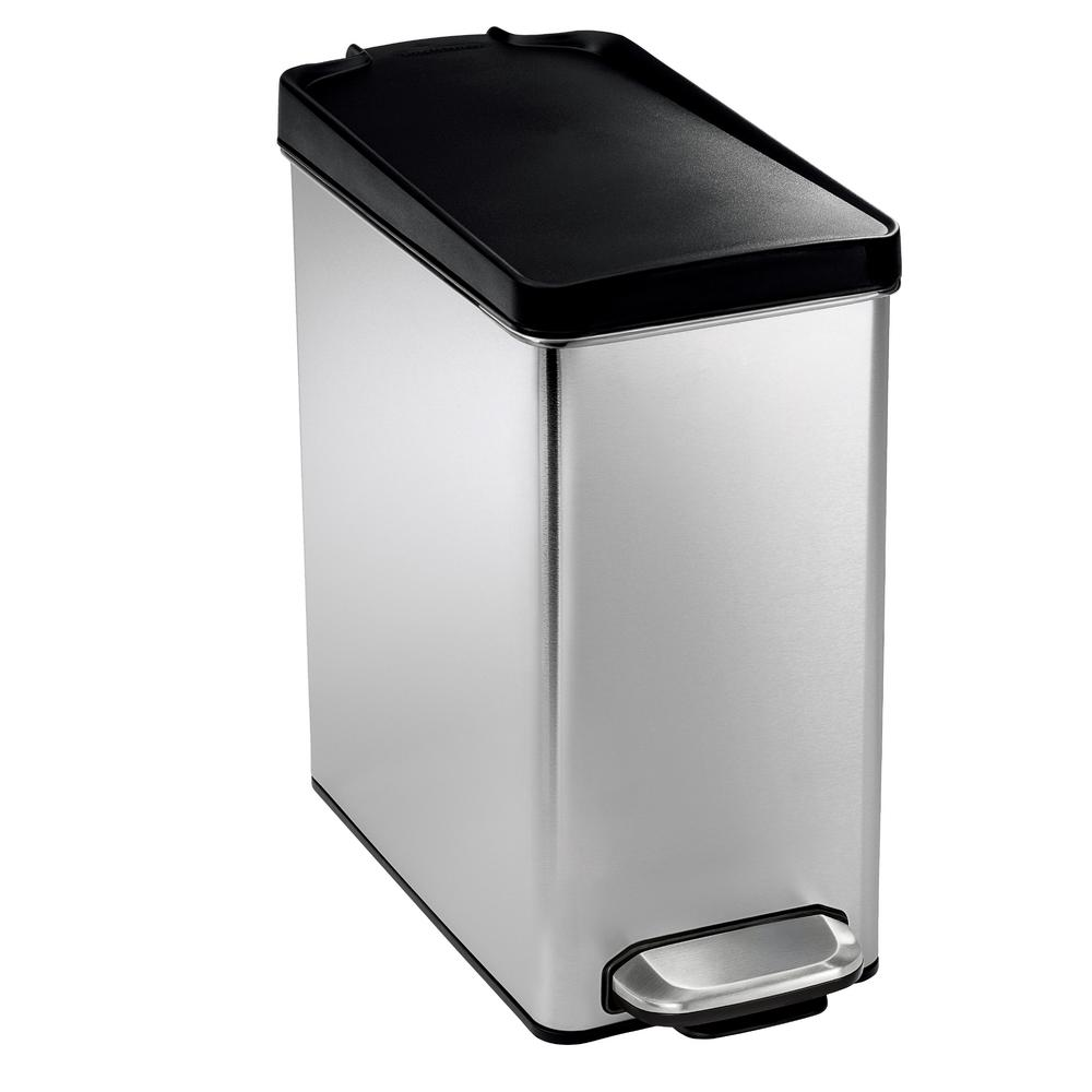 Metal Indoor Trash Can 10 Liter Brushed Stainless Steel Slim Profile Step On Trash Can With Black Plastic Lid