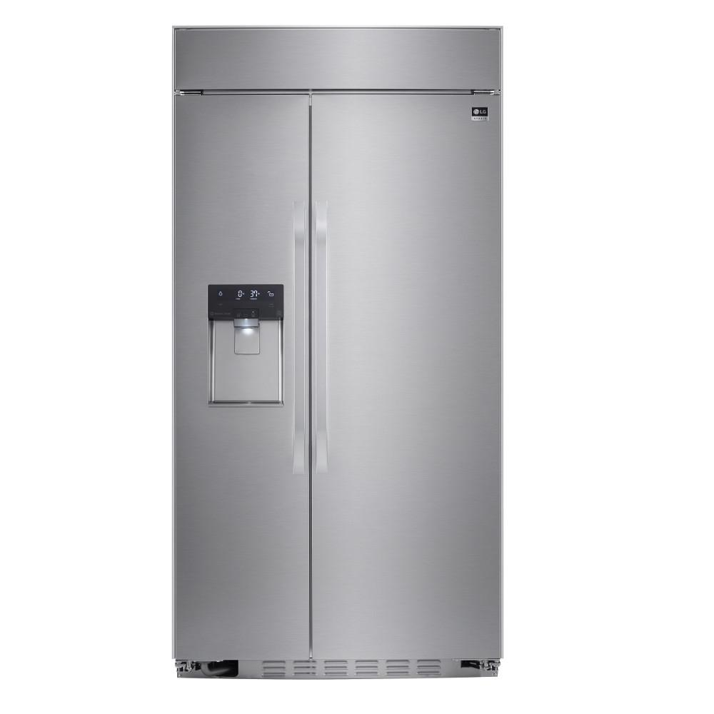 42 Fridge Lg Studio 42 In W 25 6 Cu Ft Built In Side By Side Smart Refrigerator With Wifi Enabled In Stainless Steel