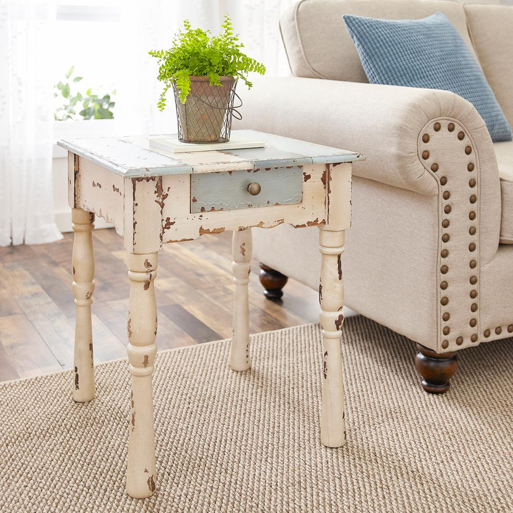 Grey White And Blue Living Room Southern Enterprises Caitlyn Antique White With Blue Gray Farmhouse End Table