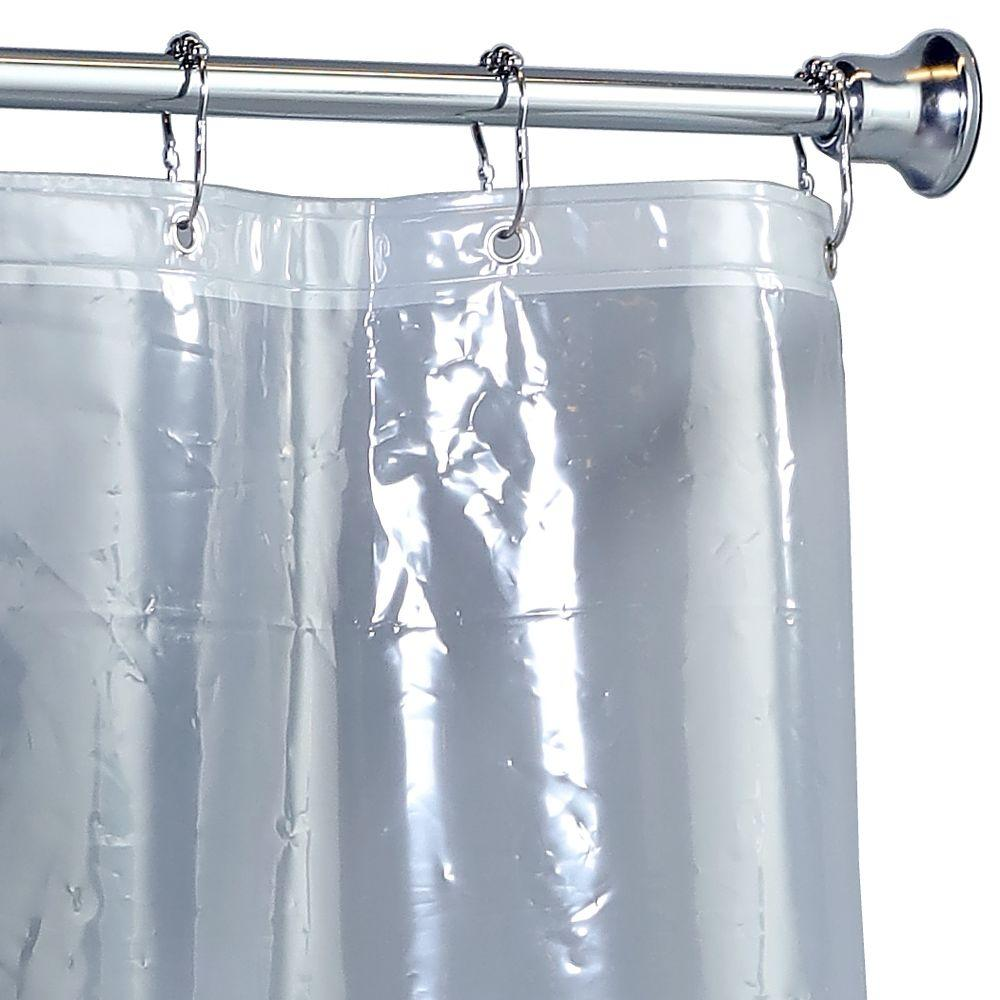 82 Shower Curtain Slipx Solutions 70 In X 84 In Mildew Resistant Extra Tall Peva Shower Liner With Microban In Clear