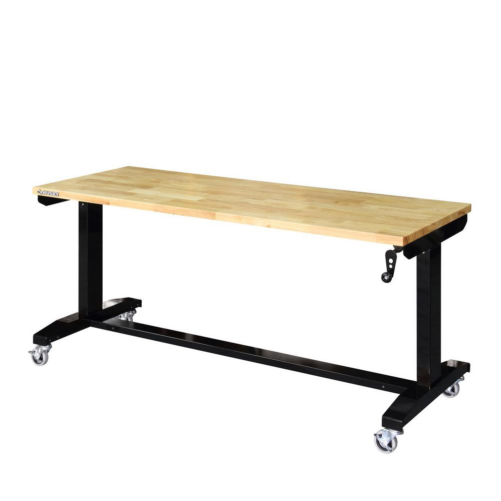 Storage Table On Wheels 62 In Adjustable Height Work Table
