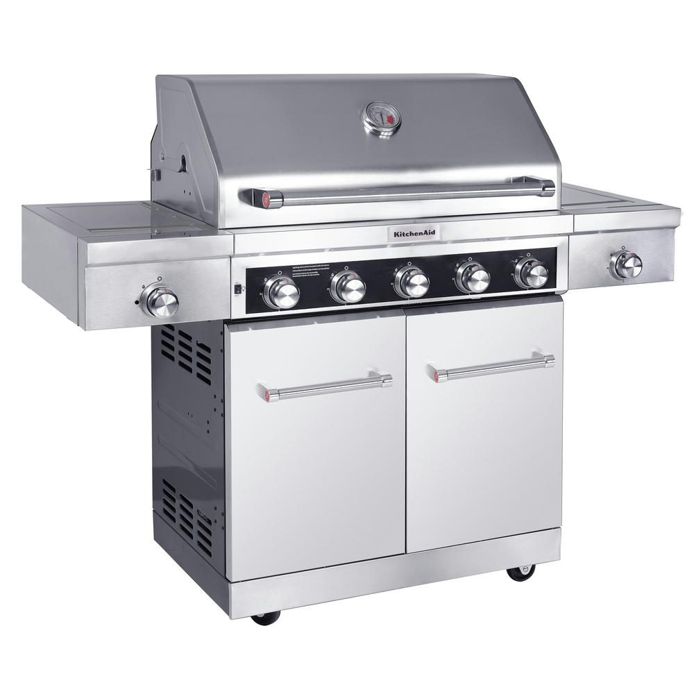 Outdoor Grill Kitchenaid 5 Burner Propane Gas Grill In Stainless Steel With Sear And Side Burners With Cover