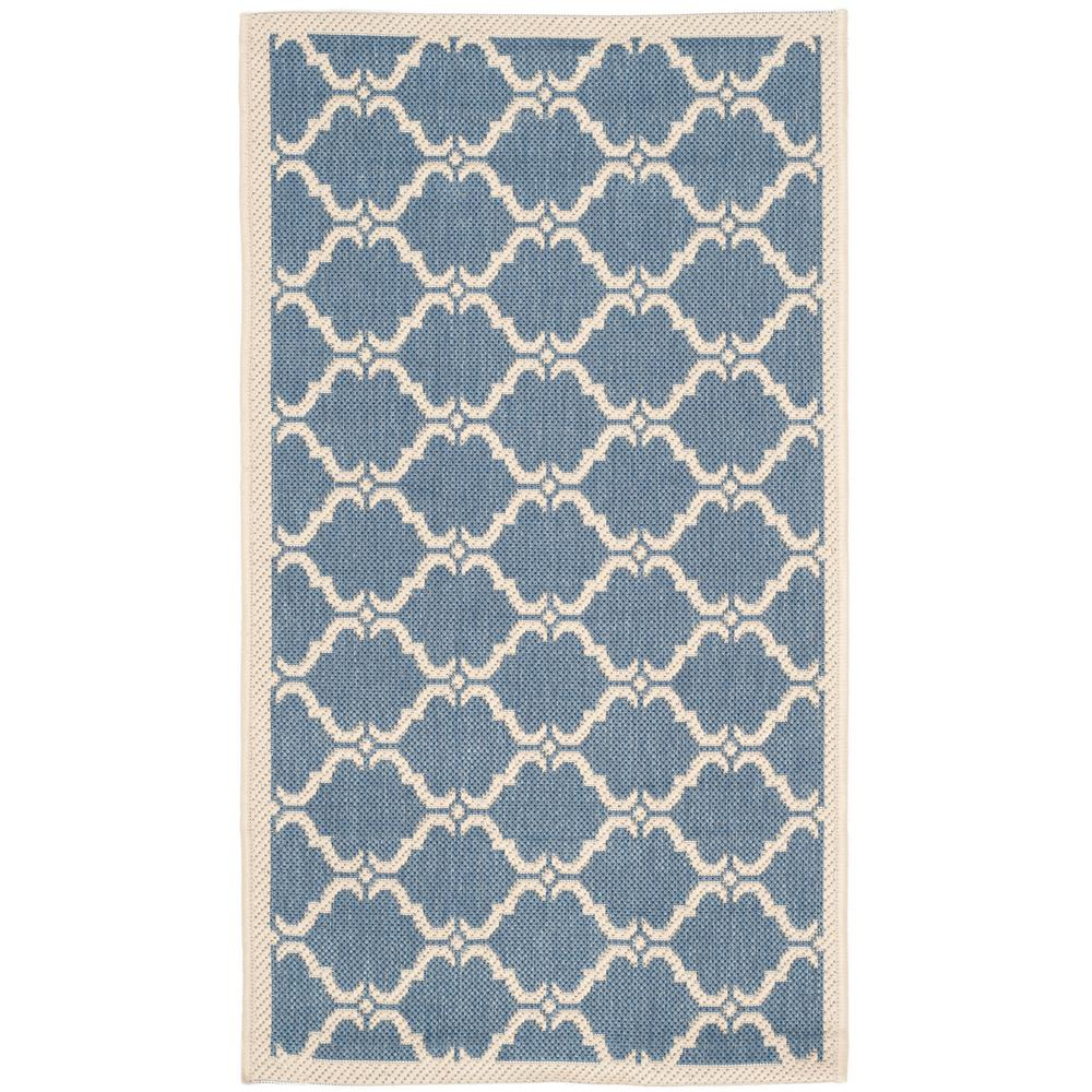 Safavieh Courtyard Safavieh Courtyard Blue Beige 3 Ft X 5 Ft Indoor Outdoor Area Rug