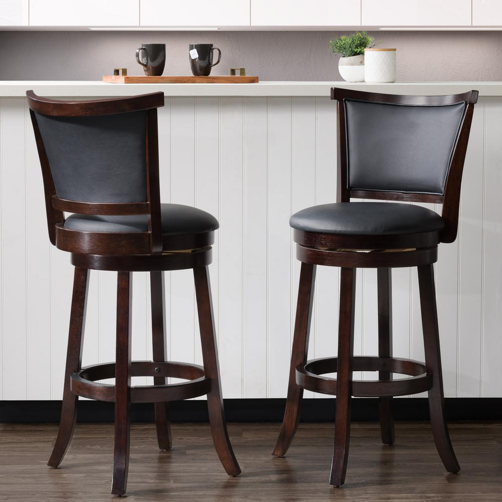 28 Barstools Corliving Woodgrove 29 In Wood Swivel Barstools With Black Bonded Leather Seat And Backrest Set Of 2