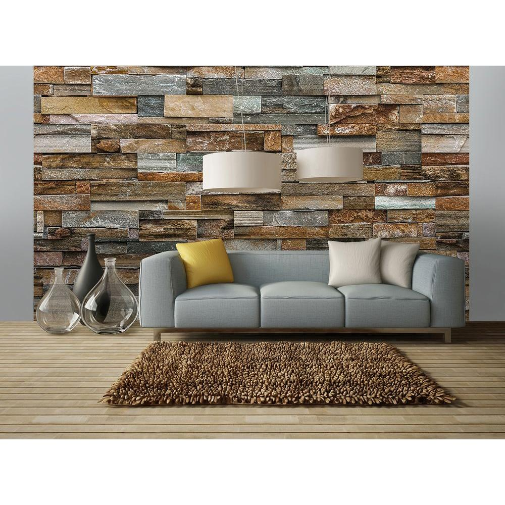 Wall Decoration Murale 144 In W X 100 In H Colorful Stone Wall Mural