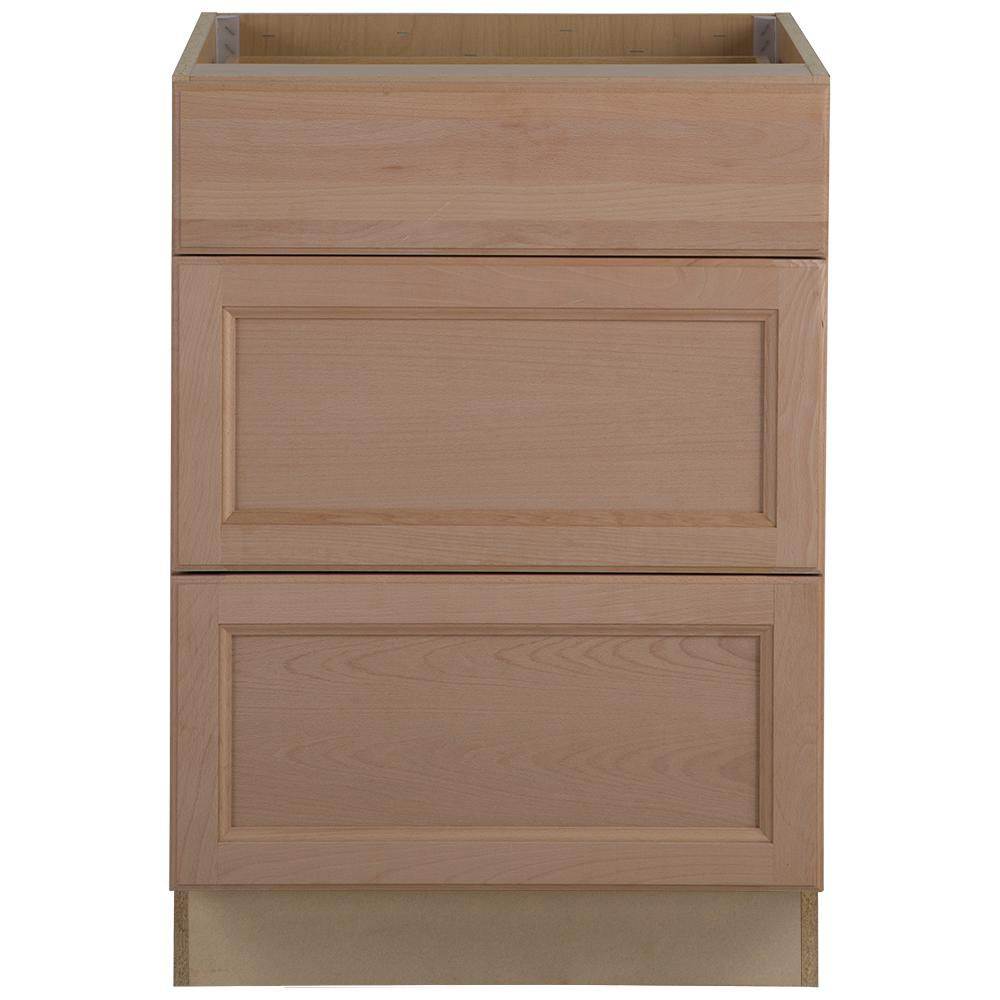 Kitchen Cabinet Drawers Hampton Bay Assembled 24x34 5x24 In Easthaven Base Cabinet With 3 Drawers In Unfinished German Beech