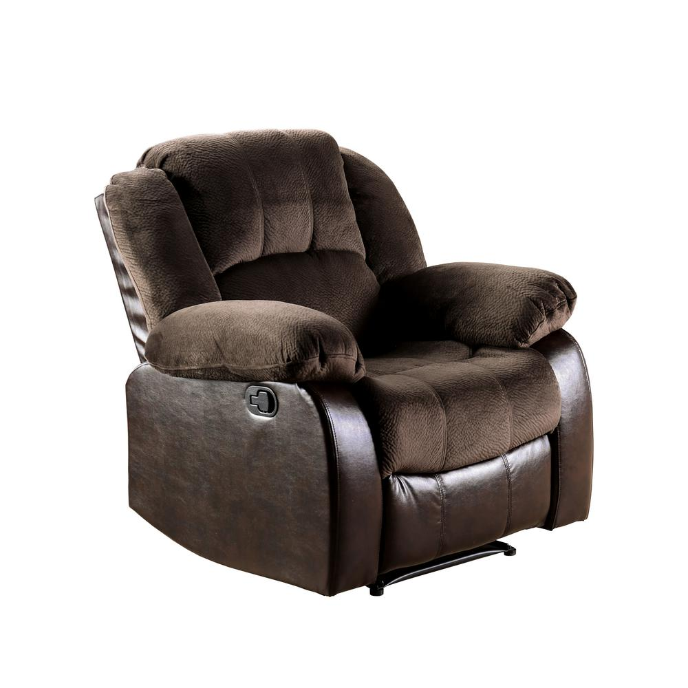Recliner Stoel Furniture Of America Barton Brown Champion And Leatherette