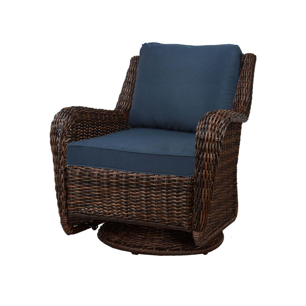 Cushion Chair Hampton Bay Cambridge Brown Wicker Swivel Outdoor Rocking Chair With Blue Cushions