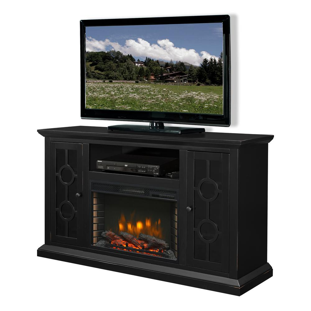 Fireplace Tv Stand Home Depot Ashby 58 In Freestanding Electric Fireplace Tv Stand In Aged Black