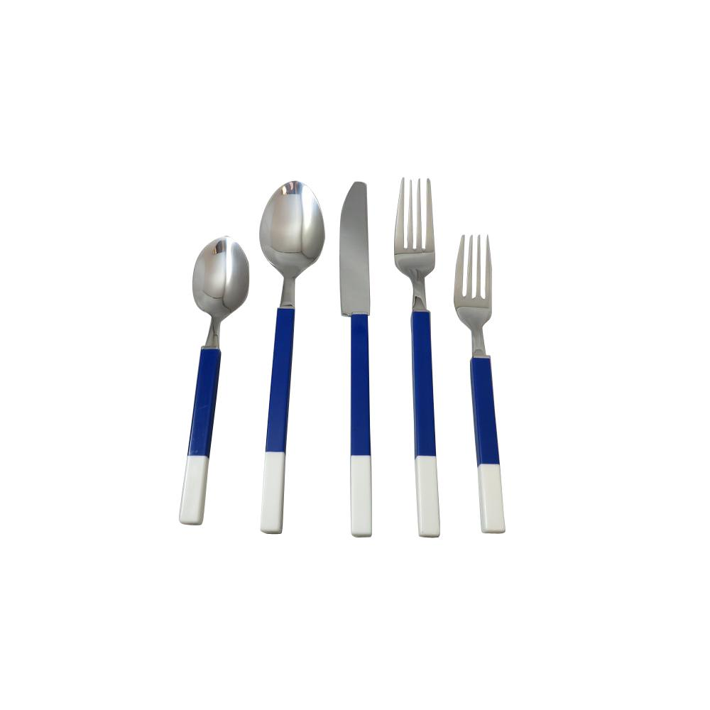 Discount Stainless Flatware Northfield 20 Piece Blue And White Stainless Flatware Set